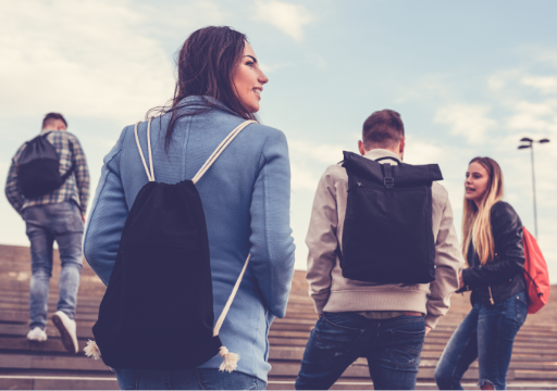friends, backpacks, outdoors